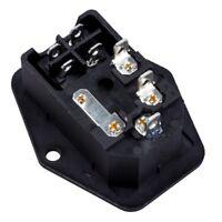 3 Pin IEC320 C14 Inlet Module Plug Fuse Switch Male Power Socket 10A 250V J9Y1