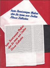2x  Taschentuch 30 cm  3 zeilen Text