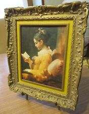 Vintage Replica Fragonard A Young Girl Reading Picture Ornate Resin Frame