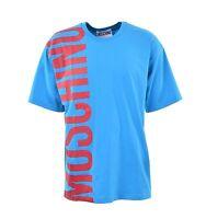 MOSCHINO COUTURE Weit Geschnittenes Oversize T-Shirt mit Logo Blau Rot 04935