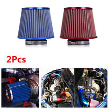 "2Pcs Car Cold Air Intake Filter Cleaner 3"" Dual Funnel Adapter - Blue+Red Color"