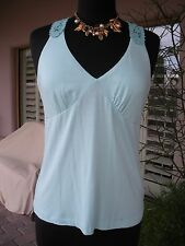 SO SEXY-! NWOT $69 FRAY Seafoam Green Blue Crochet Racer Tunic Tank Shirt Top  L