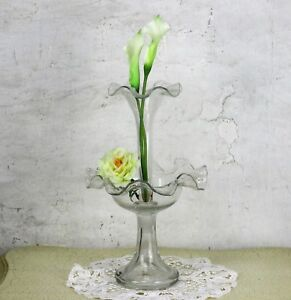 French Large Epergne Trumpet Double Vase Clear Glass Center Table Piece