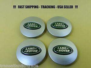 4 X Land Rover Silver Oval Green Wheel Cap Hub Caps Center Cap LR2-LR3-LR4