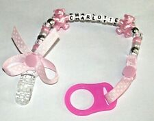 PERSONALISED BABY GIFT DUMMY CLIP ANY NAME ANY COLOUR  MAM ADAPTER SOLD SEPARATE