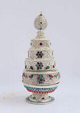 "Tibetan Buddhist 3"" Silver Plated Siko Design Copper Mandala Set frm Patan Nepal"