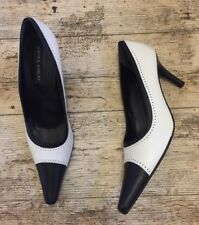 LAURA ASHLEY Black Ivory Elegant Leather Court Shoes Point Toe Slim ~Size 41/8~