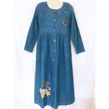 Vtg Denim School Teacher Dress Small (or M) Long Button Down Modest Homeschool