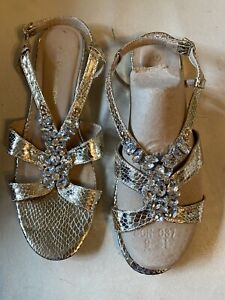 Stunning Gold Leather Sandals - Size 7