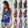 Womens Vest Casual Ladies Loose Basic Camo Tee Blouse Cami Sweatshirt Tops