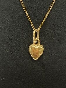 18ct 18K Yellow Gold Heart Charm Pendant. Brand New