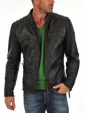 New Leather Jacket Coat Mens Motorcycle Biker Style Genuine Lambskin MJ#3