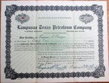 Lampasas, Texas Petroleum Co. 1920 Oil Stock Certificate - Texas Tex