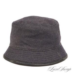 FALL Coach Dark Indigo Blue Denim Speckled Twill Leather Trim Bucket Hat S NR