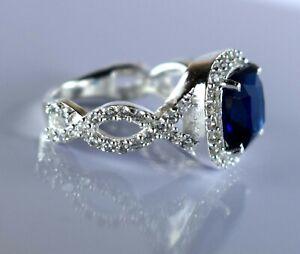 Wedding Ring 5 Ct. Natural Cushion Ceylon Blue Sapphire 925 Sterling Silver