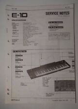 Original Roland Service Notes- E-10 Synthesizer 1st/2nd Versions