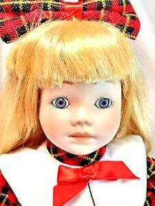 "Camelot Vintage Plaid Tartan Blonde Scottish Skirt Morgan 14"" Porcelain Doll New"