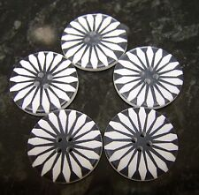 5 Large Wooden Black and white Daisy Flower Buttons 30mm