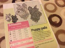 2 Miniature Schnauzers cross stitch chart Only  (M)