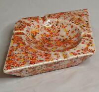 Retro Geometric Speckled Ashtray Glaze Mid Century Ceramic