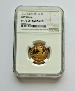 2002 Britannia Gold Proof £25 1/4oz coin NGC PF 70 Ultra Cameo