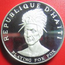 1971 HAITI 10 GOURDES 1.5oz SILVER PROOF INDIAN PLAYING FOX CHIEF CROWN RARE!