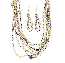 Purple Beaded Multilayer Statement Necklace Set