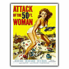 Ataque de la mujer de 50 pies de película Retro Placa Letrero de metal película Anuncio Cartel