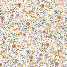 Tissu patchwork liberty Jardin de fleurs jaune gris et rose 45x55cm