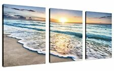 Framed Beach Canvas Wall Art 3 Panel Sand Sunset Ocean Picture Home Decor Gift