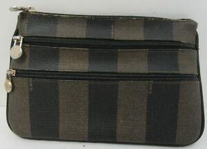 FENDI Vintage Pequin Zippy Pouch Brown Tan Pvc Clutch