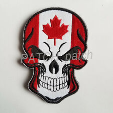 Canada Flag Punisher Skull Morale Badge Tactical Military Embroidered Hook Patch