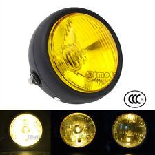 """6 1/2"""" HeadLight 40W Amber Light Lamp For Harley Cafe Racer Bobber Universal"""