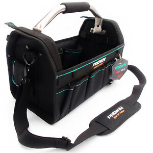 """16"""" TOOL TOTE CADDY BAG OPEN CARRY CASE HEAVY DUTY HANDLE ELECTRICIANS HOLDALL"""