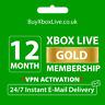 12 MONTHS XBOX LIVE GOLD MEMBERSHIP FOR XBOX 360 / XBOX ONE - BRAZIL VPN