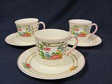 Villeroy & Boch Mon Jardin Demitasse Espresso Cups with Saucers - Set of 3 RARE