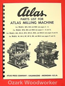 Atlas Horizontal Milling Machine Instructions & Parts Manual All Models 0016