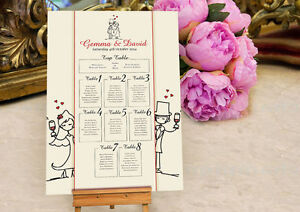 Personalised Character Design Wedding Seating Table Plan ~Canvas~Board~ OPTION2