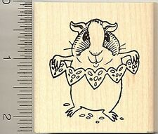 guinea pig making paper hearts rubber stamp H8901 Wm
