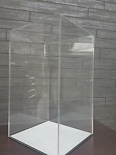 Acrylic Cube Display Stand Square Perspex Box & base Case Shop 170 x 170 x 295mm