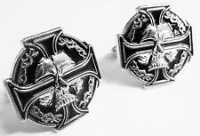 CELTIC Skull German Iron Cross Harley Biker Military Cufflinks Cuff Links Pair