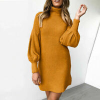Sweater Long Puff Mini Casual Winter Turtleneck Dress Women Ladies Sleeves