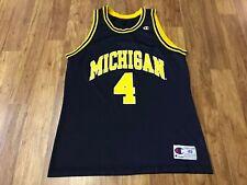 MENS 48 - Vtg 90s NCAA Michigan Wolverines #4 Chris Webber Champion Jersey USA