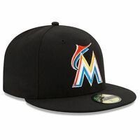 MIAMI MARLINS Home New Era 5950 HM On Field Cap MLB Baseball Fitted Hat Black