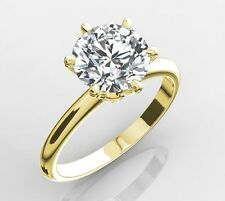 4.00 CT ROUND CUT D VVS2 ENHANCED DIAMOND SOLITAIRE RING 14K YELLOW GOLD