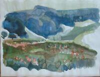 """Horst Heinen (1927-2001) """"Landschaft mit Bergen im Hintergrund"""" Aquarell"""