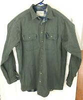 LL Bean Olive Drab Flannel Lined Mens 100% Cotton Button Down Large Tall Work