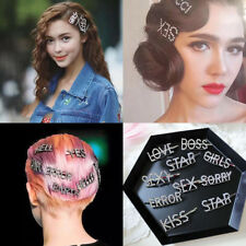 Women's Fashion Rhinestone Hair Clip Pin Crystal Letters Hairpin Slide Barrettes