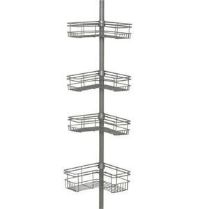 "Glacier Bay ""L"" Style Tension Corner Pole Caddy in Satin Nickel with 4 Shelves"