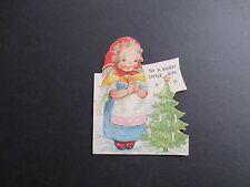 Unused Gibson Die Cut Xmas Greeting Card Sweet Girl with Mini Holiday Tree
